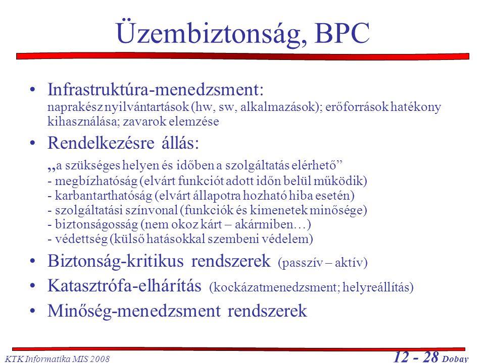 KTK Informatika MIS 2008 12 - 28 Dobay Üzembiztonság, BPC Infrastruktúra-menedzsment: naprakész nyilvántartások (hw, sw, alkalmazások); erőforrások ha