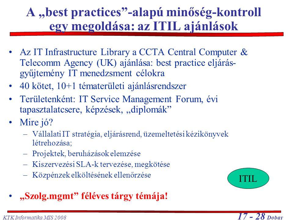 """KTK Informatika MIS 2008 17 - 28 Dobay A """"best practices -alapú minőség-kontroll egy megoldása: az ITIL ajánlások Az IT Infrastructure Library a CCTA Central Computer & Telecomm Agency (UK) ajánlása: best practice eljárás- gyűjtemény IT menedzsment célokra 40 kötet, 10+1 tématerületi ajánlásrendszer Területenként: IT Service Management Forum, évi tapasztalatcsere, képzések, """"diplomák Mire jó."""