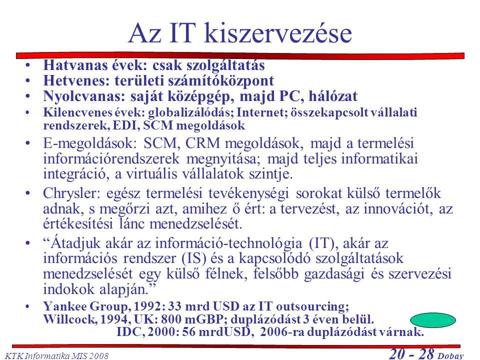 KTK Informatika MIS 2008 20 - 28 Dobay Az IT kiszervezése Hatvanas évek: csak szolgáltatás Hetvenes: területi számítóközpont Nyolcvanas: saját középgép, majd PC, hálózat Kilencvenes évek: globalizálódás; Internet; összekapcsolt vállalati rendszerek, EDI, SCM megoldások E-megoldások: SCM, CRM megoldások, majd a termelési információrendszerek megnyitása; majd teljes informatikai integráció, a virtuális vállalatok szintje.