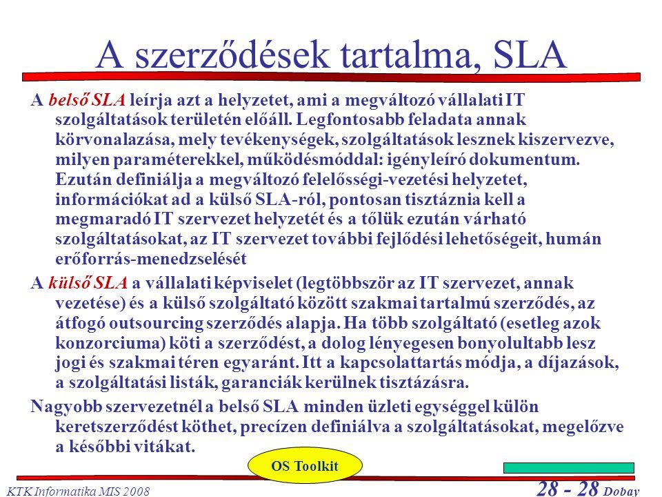 KTK Informatika MIS 2008 28 - 28 Dobay A szerződések tartalma, SLA A belső SLA leírja azt a helyzetet, ami a megváltozó vállalati IT szolgáltatások területén előáll.