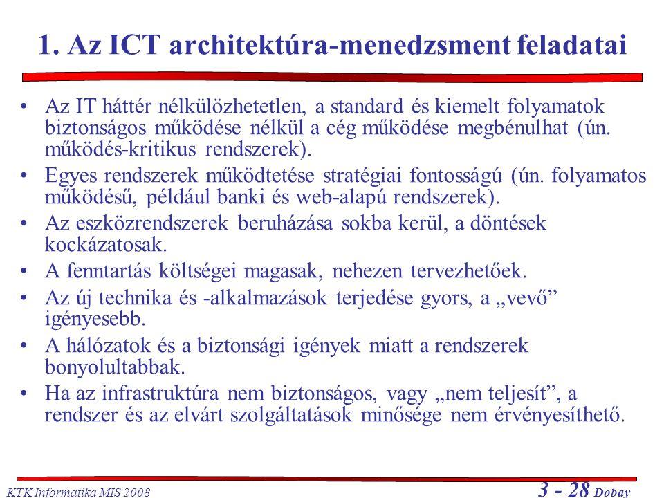 KTK Informatika MIS 2008 3 - 28 Dobay 1. Az ICT architektúra-menedzsment feladatai Az IT háttér nélkülözhetetlen, a standard és kiemelt folyamatok biz