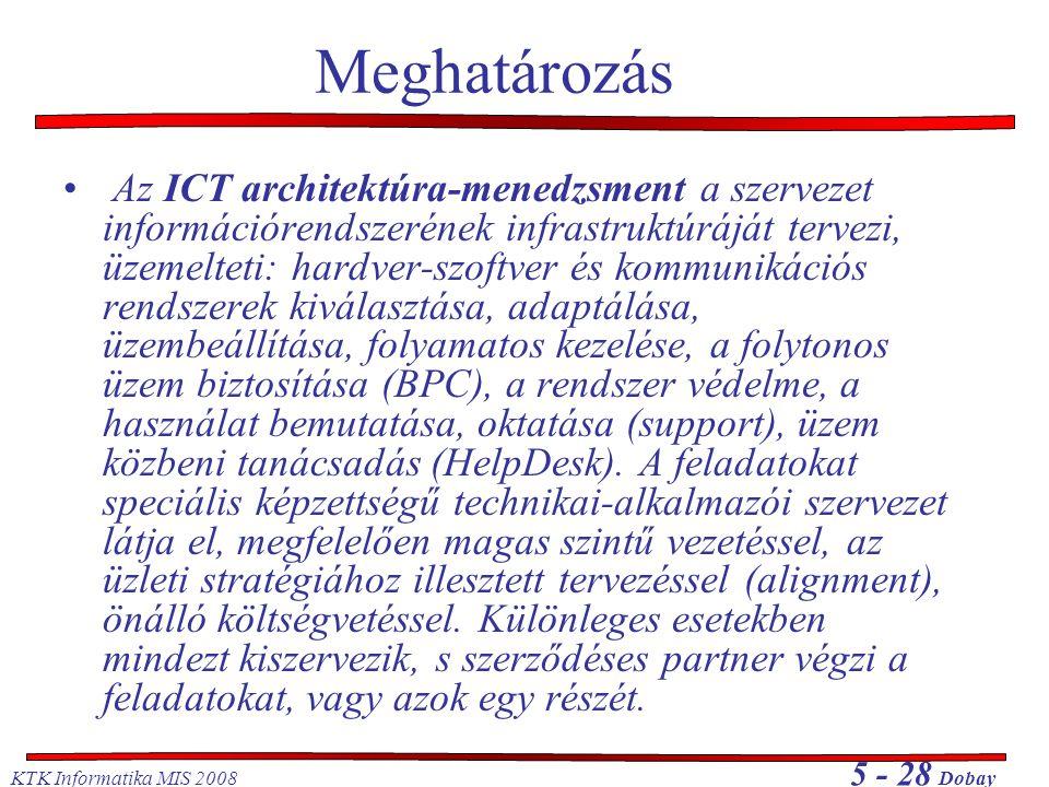 KTK Informatika MIS 2008 5 - 28 Dobay Meghatározás Az ICT architektúra-menedzsment a szervezet információrendszerének infrastruktúráját tervezi, üzemelteti: hardver-szoftver és kommunikációs rendszerek kiválasztása, adaptálása, üzembeállítása, folyamatos kezelése, a folytonos üzem biztosítása (BPC), a rendszer védelme, a használat bemutatása, oktatása (support), üzem közbeni tanácsadás (HelpDesk).