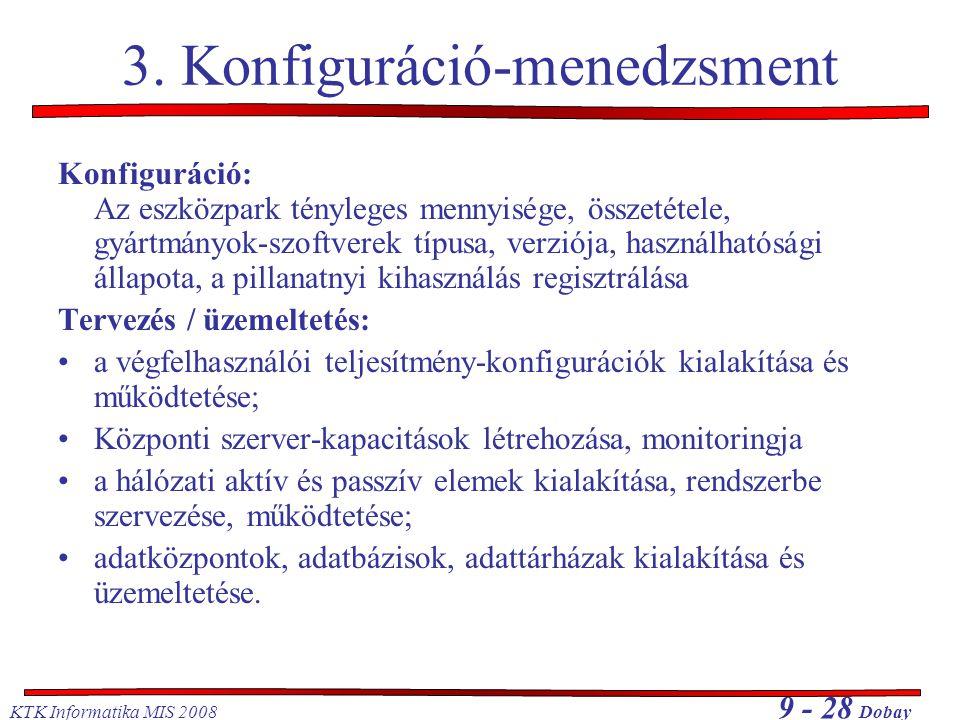 KTK Informatika MIS 2008 9 - 28 Dobay 3. Konfiguráció-menedzsment Konfiguráció: Az eszközpark tényleges mennyisége, összetétele, gyártmányok-szoftvere