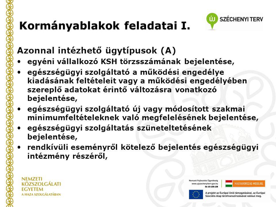 Kormányablakok feladatai I. Azonnal intézhető ügytípusok (A) egyéni vállalkozó KSH törzsszámának bejelentése, egészségügyi szolgáltató a működési enge