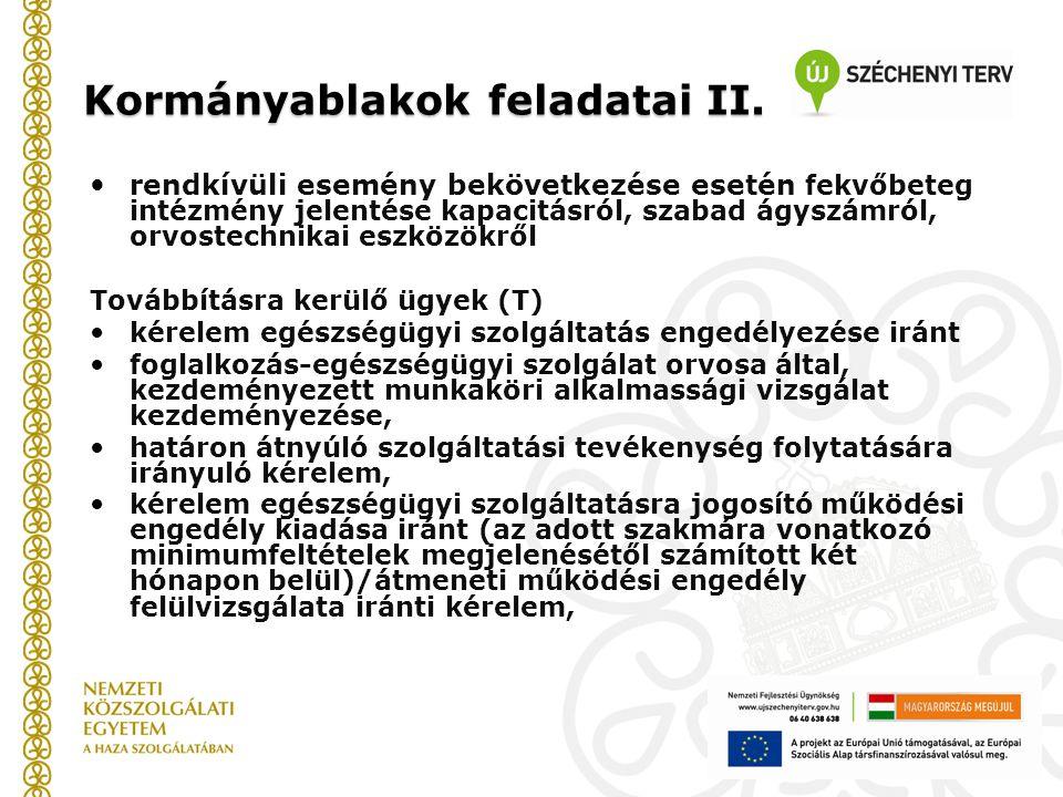 Kormányablakok feladatai II.