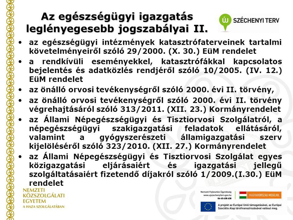Az egészségügyi igazgatás leglényegesebb jogszabályai II. az egészségügyi intézmények katasztrófaterveinek tartalmi követelményeiről szóló 29/2000. (X
