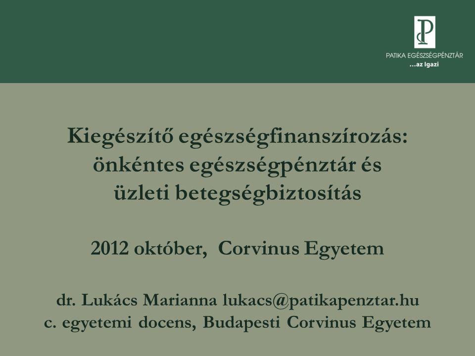 Kiegészítő egészségfinanszírozás: önkéntes egészségpénztár és üzleti betegségbiztosítás 2012 október, Corvinus Egyetem dr. Lukács Marianna lukacs@pati