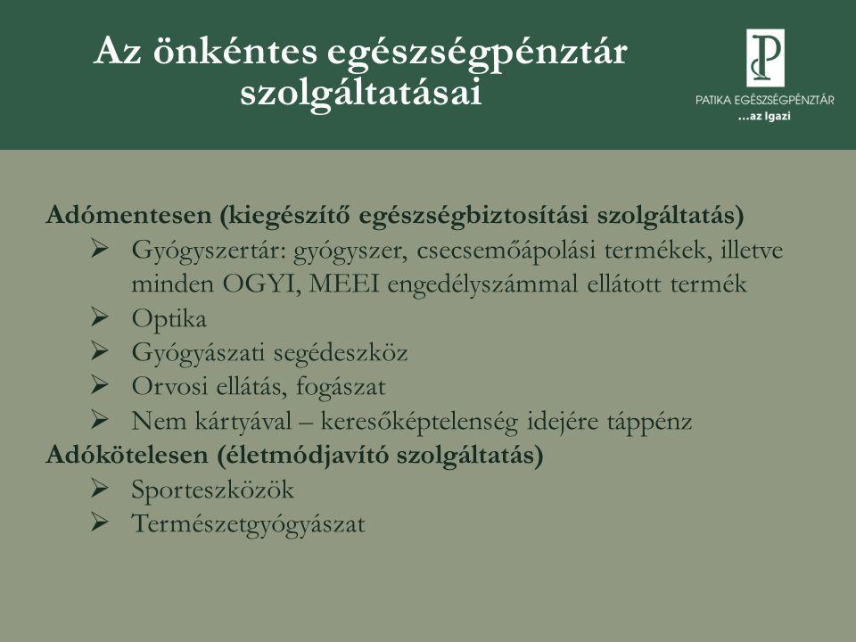 Adómentesen (kiegészítő egészségbiztosítási szolgáltatás)  Gyógyszertár: gyógyszer, csecsemőápolási termékek, illetve minden OGYI, MEEI engedélyszámm