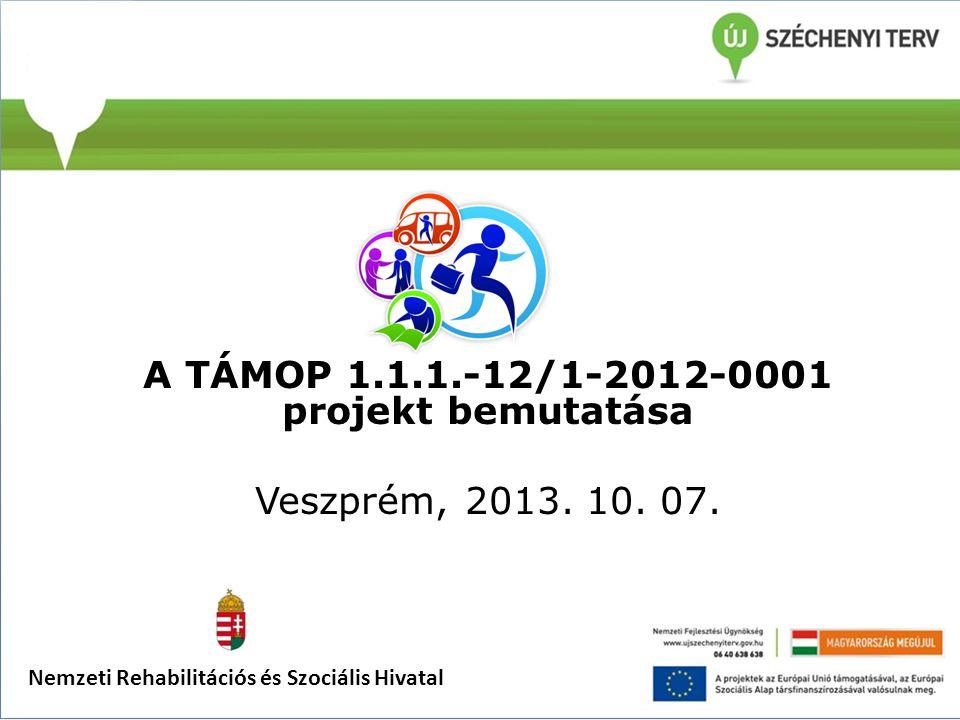A TÁMOP 1.1.1.-12/1-2012-0001 projekt bemutatása Veszprém, 2013. 10. 07. Nemzeti Rehabilitációs és Szociális Hivatal