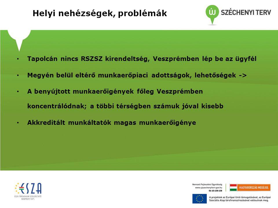 Helyi nehézségek, problémák Tapolcán nincs RSZSZ kirendeltség, Veszprémben lép be az ügyfél Megyén belül eltérő munkaerőpiaci adottságok, lehetőségek