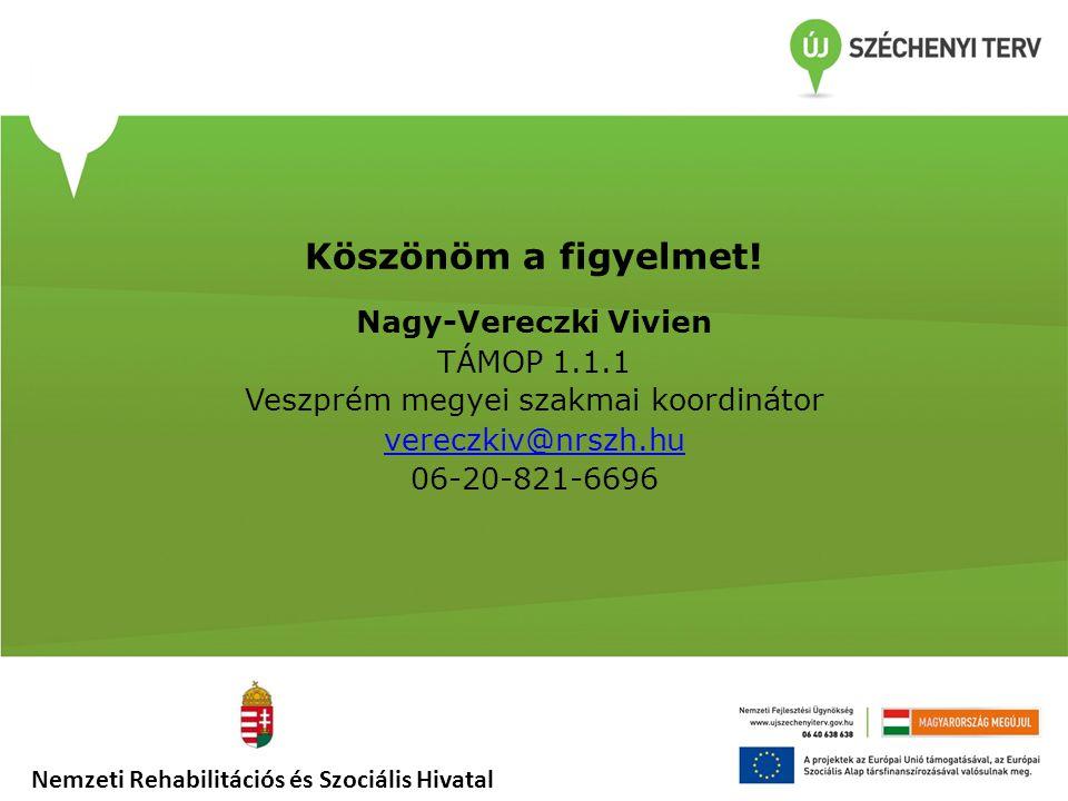 Köszönöm a figyelmet! Nagy-Vereczki Vivien TÁMOP 1.1.1 Veszprém megyei szakmai koordinátor vereczkiv@nrszh.hu 06-20-821-6696 Nemzeti Rehabilitációs és