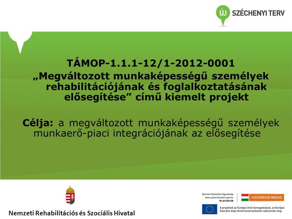 """TÁMOP-1.1.1-12/1-2012-0001 """"Megváltozott munkaképességű személyek rehabilitációjának és foglalkoztatásának elősegítése"""" című kiemelt projekt Célja: a"""