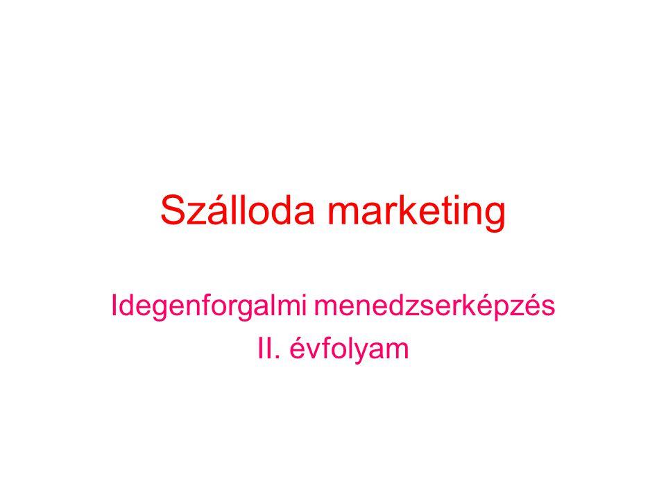 Szálloda marketing Idegenforgalmi menedzserképzés II. évfolyam
