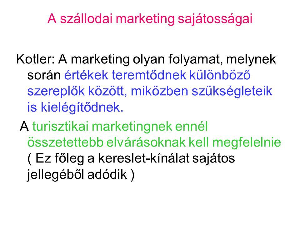 A szállodai marketing sajátosságai Kotler: A marketing olyan folyamat, melynek során értékek teremtődnek különböző szereplők között, miközben szükségleteik is kielégítődnek.