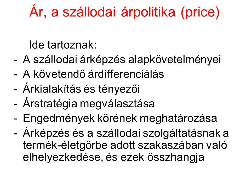 Ár, a szállodai árpolitika (price) Ide tartoznak: -A szállodai árképzés alapkövetelményei -A követendő árdifferenciálás -Árkialakítás és tényezői -Árstratégia megválasztása -Engedmények körének meghatározása -Árképzés és a szállodai szolgáltatásnak a termék-életgörbe adott szakaszában való elhelyezkedése, és ezek összhangja