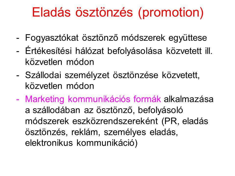 Eladás ösztönzés (promotion) -Fogyasztókat ösztönző módszerek együttese -Értékesítési hálózat befolyásolása közvetett ill.