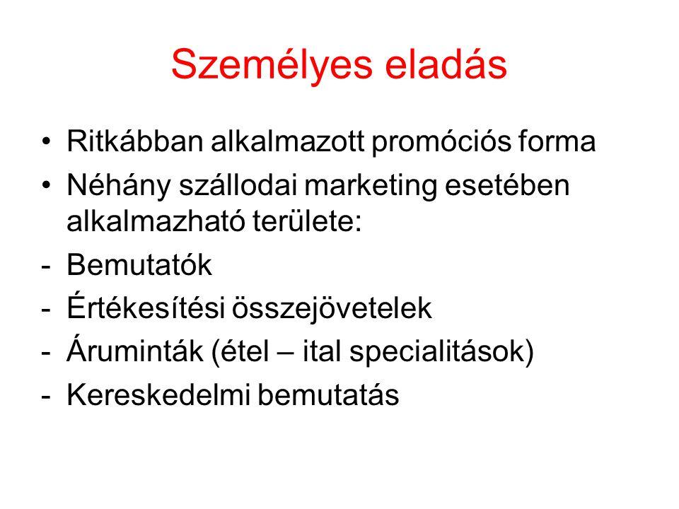 Személyes eladás Ritkábban alkalmazott promóciós forma Néhány szállodai marketing esetében alkalmazható területe: -Bemutatók -Értékesítési összejövetelek -Áruminták (étel – ital specialitások) -Kereskedelmi bemutatás