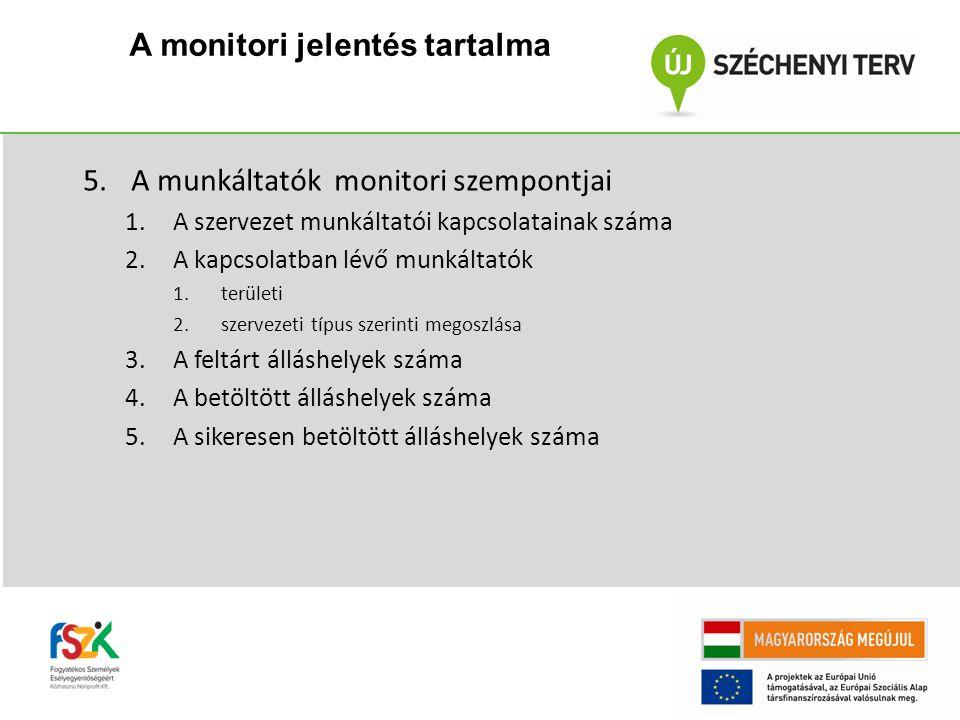 5.A munkáltatók monitori szempontjai 1.A szervezet munkáltatói kapcsolatainak száma 2.A kapcsolatban lévő munkáltatók 1.területi 2.szervezeti típus szerinti megoszlása 3.A feltárt álláshelyek száma 4.A betöltött álláshelyek száma 5.A sikeresen betöltött álláshelyek száma A monitori jelentés tartalma