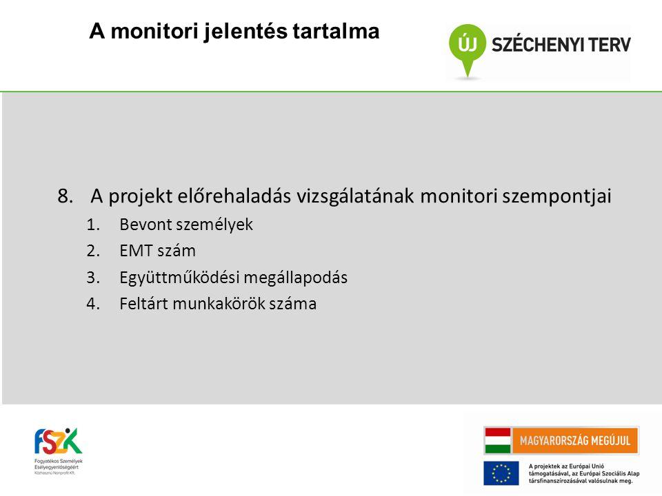 8.A projekt előrehaladás vizsgálatának monitori szempontjai 1.Bevont személyek 2.EMT szám 3.Együttműködési megállapodás 4.Feltárt munkakörök száma A monitori jelentés tartalma