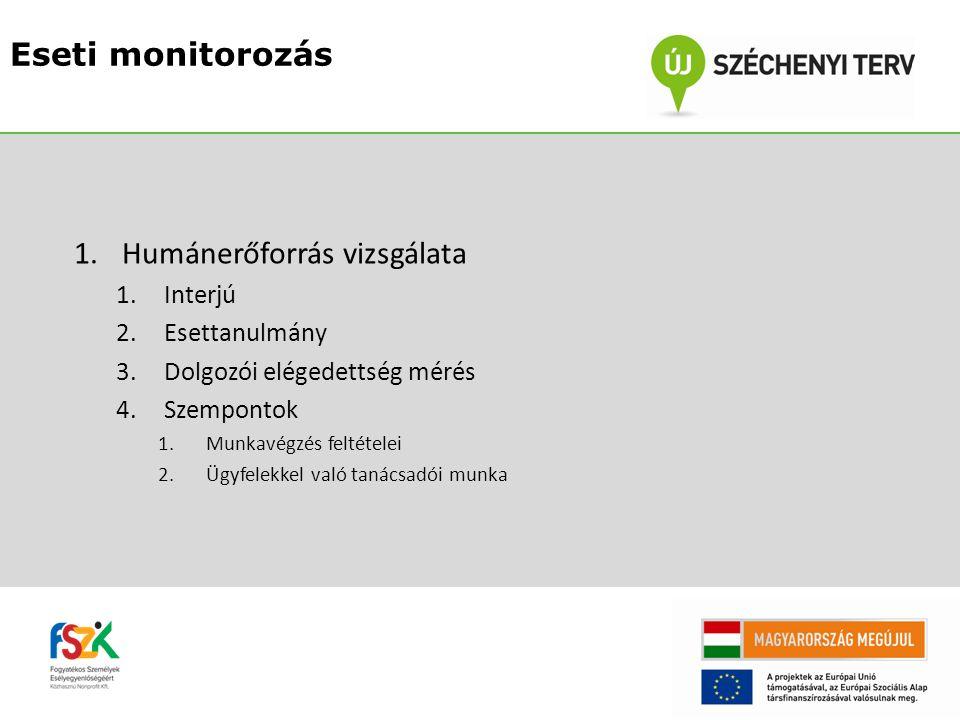 1.Humánerőforrás vizsgálata 1.Interjú 2.Esettanulmány 3.Dolgozói elégedettség mérés 4.Szempontok 1.Munkavégzés feltételei 2.Ügyfelekkel való tanácsadói munka Eseti monitorozás
