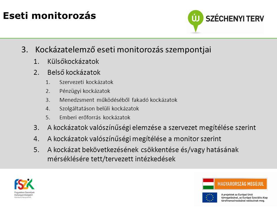 3.Kockázatelemző eseti monitorozás szempontjai 1.Külsőkockázatok 2.Belső kockázatok 1.Szervezeti kockázatok 2.Pénzügyi kockázatok 3.Menedzsment működéséből fakadó kockázatok 4.Szolgáltatáson belüli kockázatok 5.Emberi erőforrás kockázatok 3.A kockázatok valószínűségi elemzése a szervezet megítélése szerint 4.A kockázatok valószínűségi megítélése a monitor szerint 5.A kockázat bekövetkezésének csökkentése és/vagy hatásának mérséklésére tett/tervezett intézkedések Eseti monitorozás
