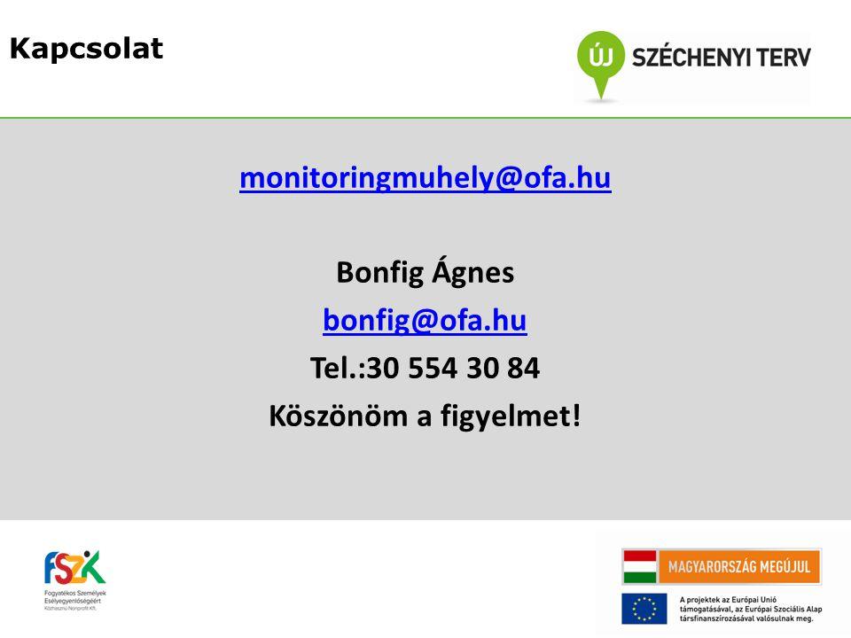 monitoringmuhely@ofa.hu Bonfig Ágnes bonfig@ofa.hu Tel.:30 554 30 84 Köszönöm a figyelmet.
