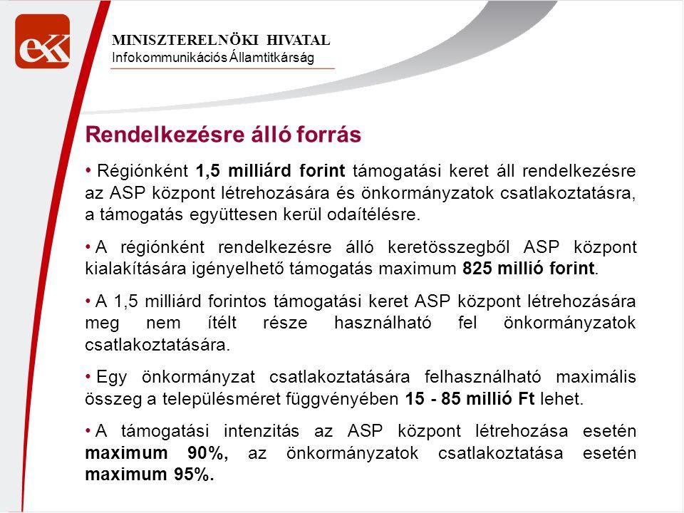 Infokommunikációs Államtitkárság MINISZTERELNÖKI HIVATAL Rendelkezésre álló forrás Régiónként 1,5 milliárd forint támogatási keret áll rendelkezésre az ASP központ létrehozására és önkormányzatok csatlakoztatásra, a támogatás együttesen kerül odaítélésre.