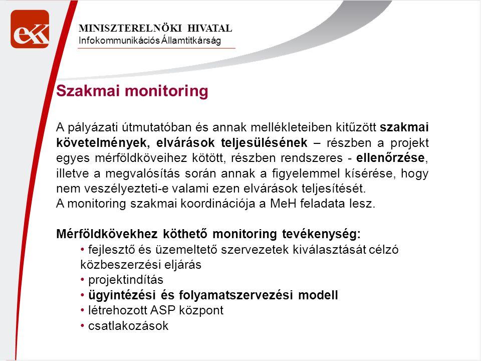 Infokommunikációs Államtitkárság MINISZTERELNÖKI HIVATAL Szakmai monitoring A pályázati útmutatóban és annak mellékleteiben kitűzött szakmai követelmények, elvárások teljesülésének – részben a projekt egyes mérföldköveihez kötött, részben rendszeres - ellenőrzése, illetve a megvalósítás során annak a figyelemmel kísérése, hogy nem veszélyezteti-e valami ezen elvárások teljesítését.