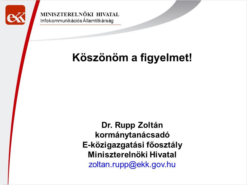 Infokommunikációs Államtitkárság MINISZTERELNÖKI HIVATAL Köszönöm a figyelmet! Dr. Rupp Zoltán kormánytanácsadó E-közigazgatási főosztály Minisztereln
