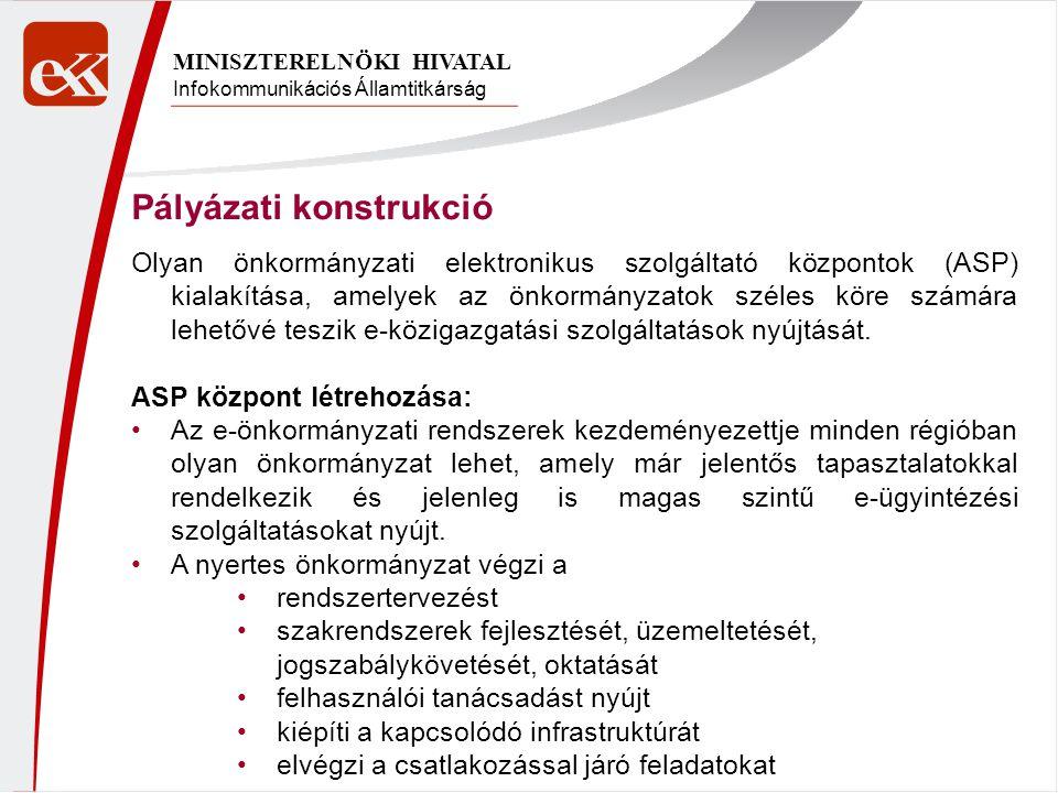 Infokommunikációs Államtitkárság MINISZTERELNÖKI HIVATAL Pályázati konstrukció Olyan önkormányzati elektronikus szolgáltató központok (ASP) kialakítás
