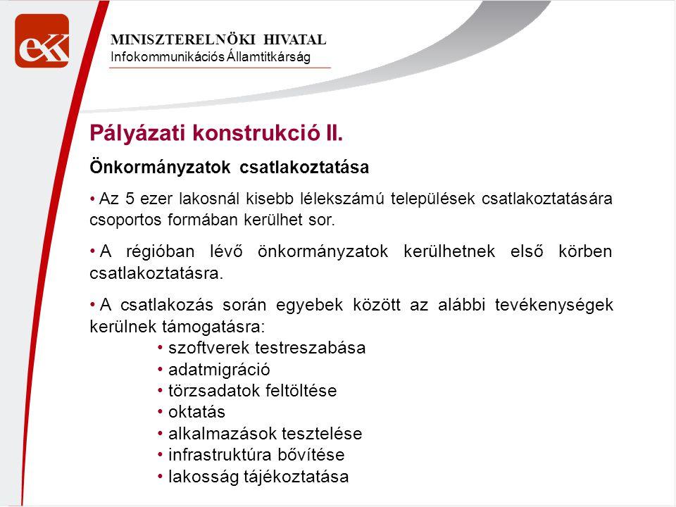 Infokommunikációs Államtitkárság MINISZTERELNÖKI HIVATAL Pályázati konstrukció II. Önkormányzatok csatlakoztatása Az 5 ezer lakosnál kisebb lélekszámú