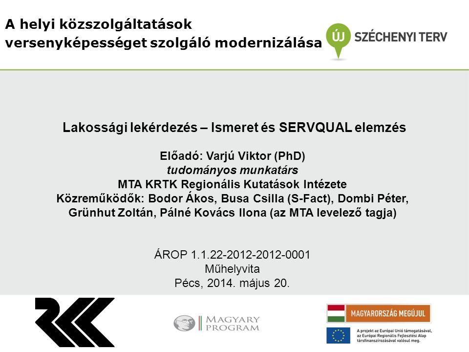 A helyi közszolgáltatások versenyképességet szolgáló modernizálása Előadó: Varjú Viktor (PhD) tudományos munkatárs MTA KRTK Regionális Kutatások Intéz