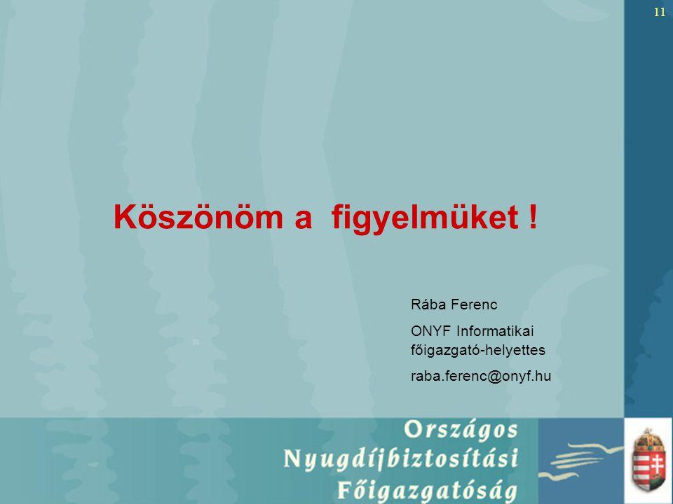 11 Köszönöm a figyelmüket ! Rába Ferenc ONYF Informatikai főigazgató-helyettes raba.ferenc@onyf.hu