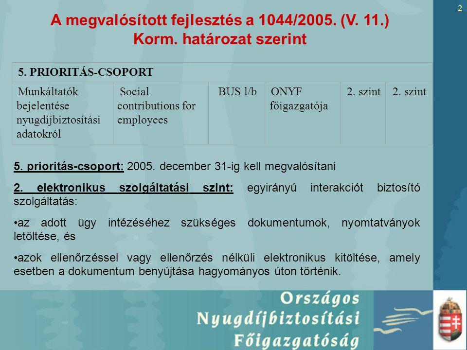 2 5. PRIORITÁS-CSOPORT Munkáltatók bejelentése nyugdíjbiztosítási adatokról Social contributions for employees BUS l/b ONYF főigazgatója 2. szint 5. p