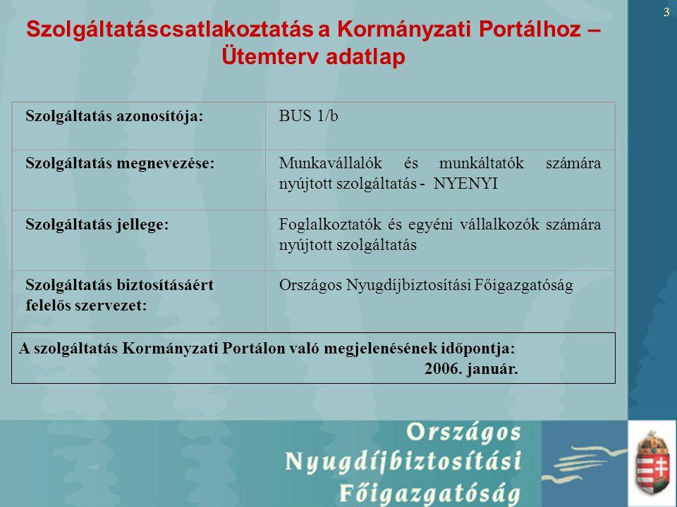 3 Szolgáltatáscsatlakoztatás a Kormányzati Portálhoz – Ütemterv adatlap Szolgáltatás azonosítója:BUS 1/b Szolgáltatás megnevezése:Munkavállalók és munkáltatók számára nyújtott szolgáltatás - NYENYI Szolgáltatás jellege:Foglalkoztatók és egyéni vállalkozók számára nyújtott szolgáltatás Szolgáltatás biztosításáért felelős szervezet: Országos Nyugdíjbiztosítási Főigazgatóság A szolgáltatás Kormányzati Portálon való megjelenésének időpontja: 2006.
