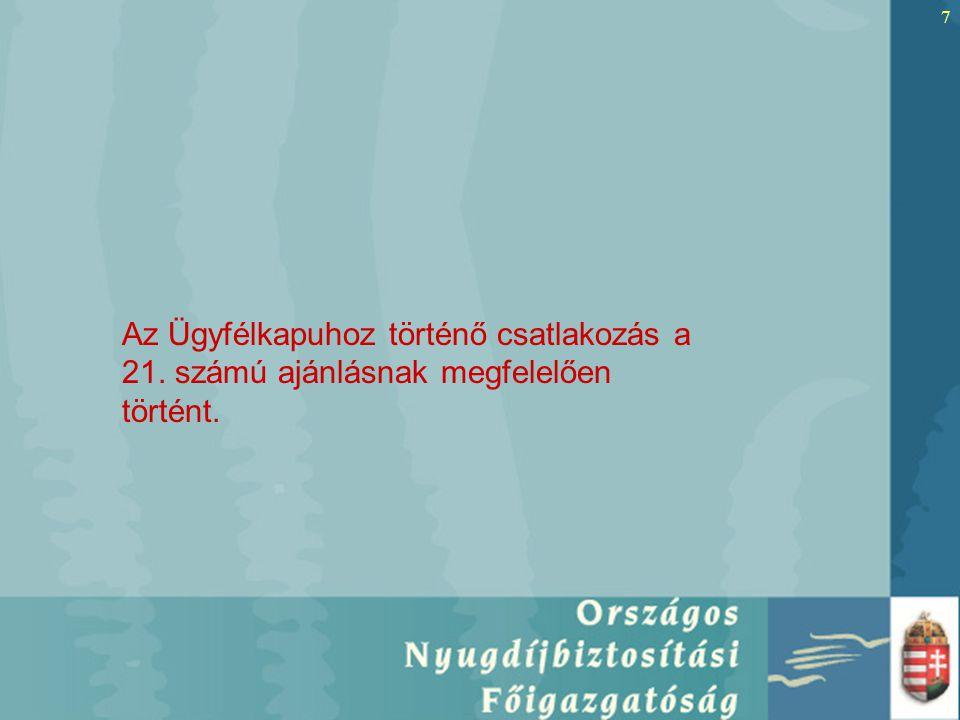 7 Az Ügyfélkapuhoz történő csatlakozás a 21. számú ajánlásnak megfelelően történt.