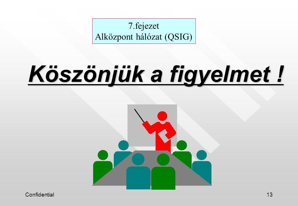 Confidential13 Köszönjük a figyelmet ! 7.fejezet Alközpont hálózat (QSIG)
