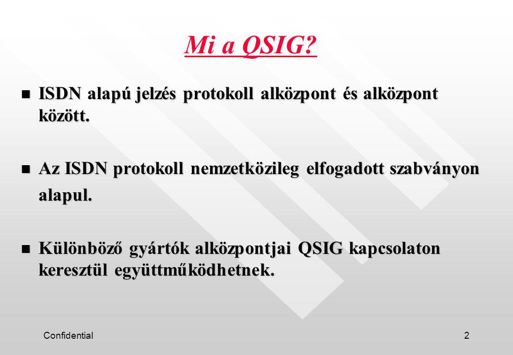 Confidential3 n Analóg TIE vonalak ( alap hangsávi információ alközpontok között) ==> QSIG (Nagyobb sebességű digitális vonalak) ==> QSIG (Nagyobb sebességű digitális vonalak) Háttér