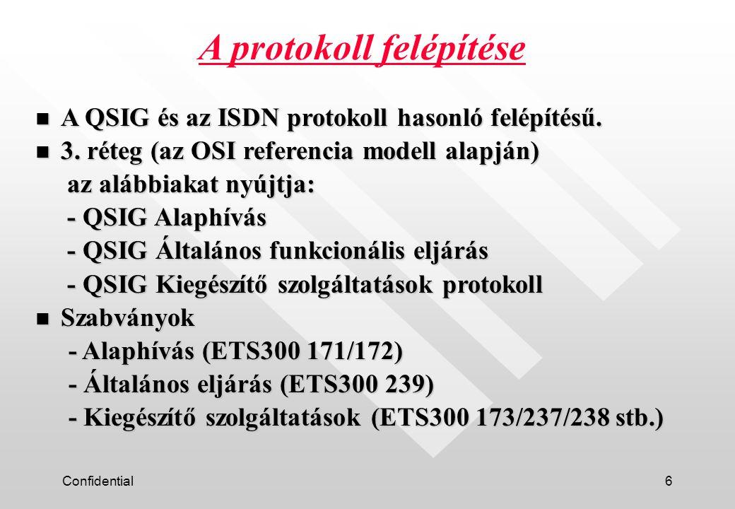 Confidential6 A protokoll felépítése n A QSIG és az ISDN protokoll hasonló felépítésű.