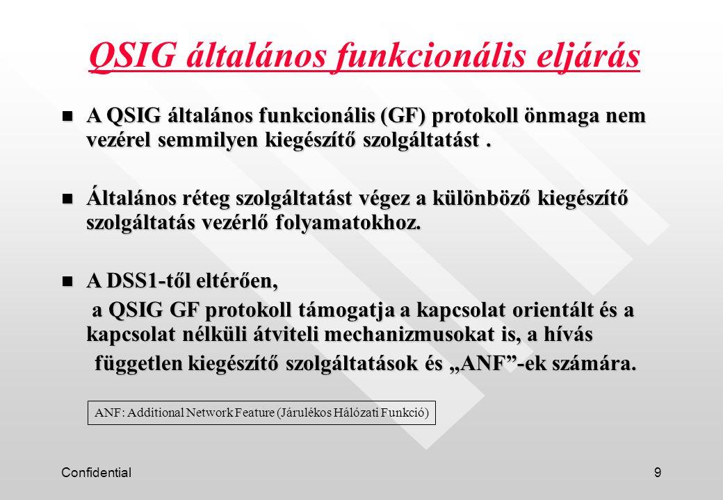 Confidential9 QSIG általános funkcionális eljárás n A QSIG általános funkcionális (GF) protokoll önmaga nem vezérel semmilyen kiegészítő szolgáltatást.