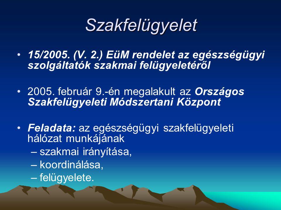 Szakfelügyelet 15/2005. (V. 2.) EüM rendelet az egészségügyi szolgáltatók szakmai felügyeletéről 2005. február 9.-én megalakult az Országos Szakfelügy