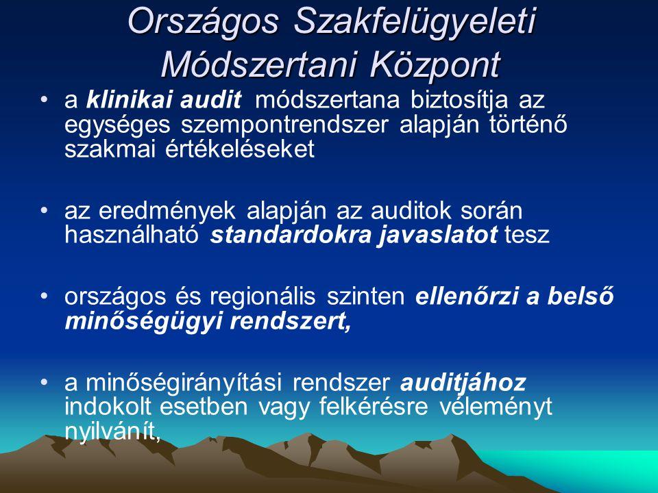Országos Szakfelügyeleti Módszertani Központ a klinikai audit módszertana biztosítja az egységes szempontrendszer alapján történő szakmai értékeléseke