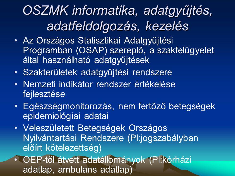 OSZMK informatika, adatgyűjtés, adatfeldolgozás, kezelés Az Országos Statisztikai Adatgyűjtési Programban (OSAP) szereplő, a szakfelügyelet által használható adatgyűjtések Szakterületek adatgyűjtési rendszere Nemzeti indikátor rendszer értékelése fejlesztése Egészségmonitorozás, nem fertőző betegségek epidemiológiai adatai Veleszületett Betegségek Országos Nyilvántartási Rendszere (Pl:jogszabályban előírt kötelezettség) OEP-től átvett adatállományok (Pl:kórházi adatlap, ambulans adatlap)