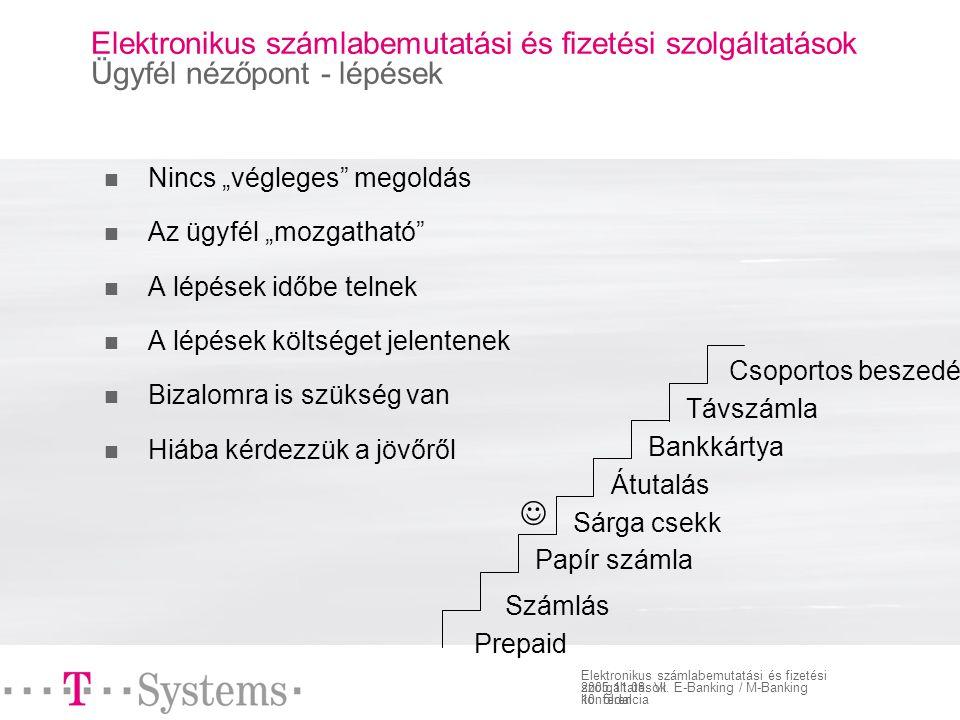 10. oldal Elektronikus számlabemutatási és fizetési szolgáltatások 2005.11.08.
