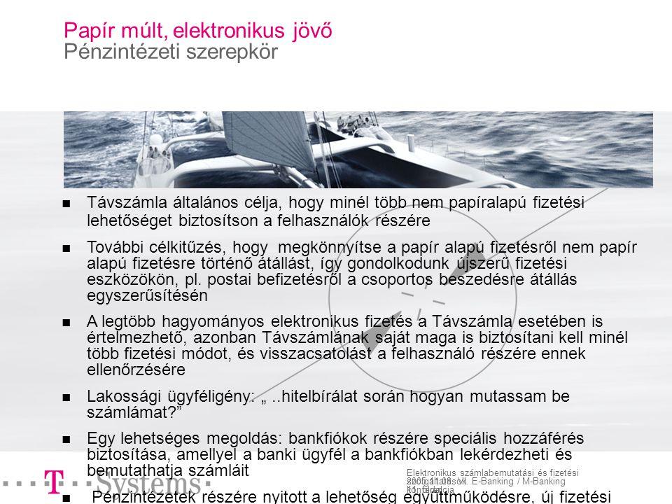 11. oldal Elektronikus számlabemutatási és fizetési szolgáltatások 2005.11.08.