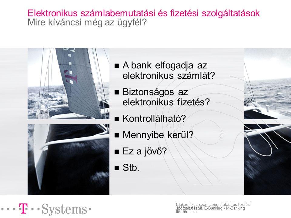 12. oldal Elektronikus számlabemutatási és fizetési szolgáltatások 2005.11.08.