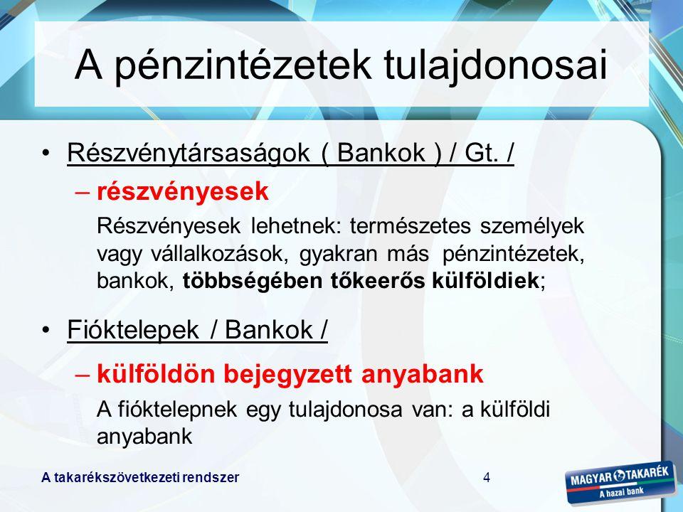 A takarékszövetkezeti rendszer4 A pénzintézetek tulajdonosai Részvénytársaságok ( Bankok ) / Gt.