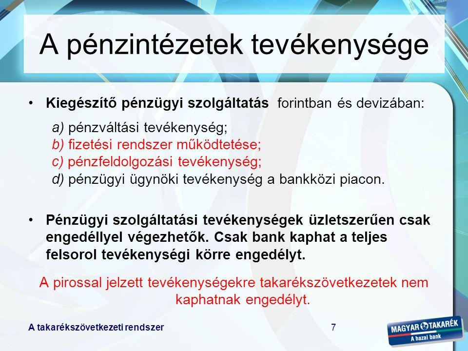 A takarékszövetkezeti rendszer7 Kiegészítő pénzügyi szolgáltatás forintban és devizában: a) pénzváltási tevékenység; b) fizetési rendszer működtetése; c) pénzfeldolgozási tevékenység; d) pénzügyi ügynöki tevékenység a bankközi piacon.