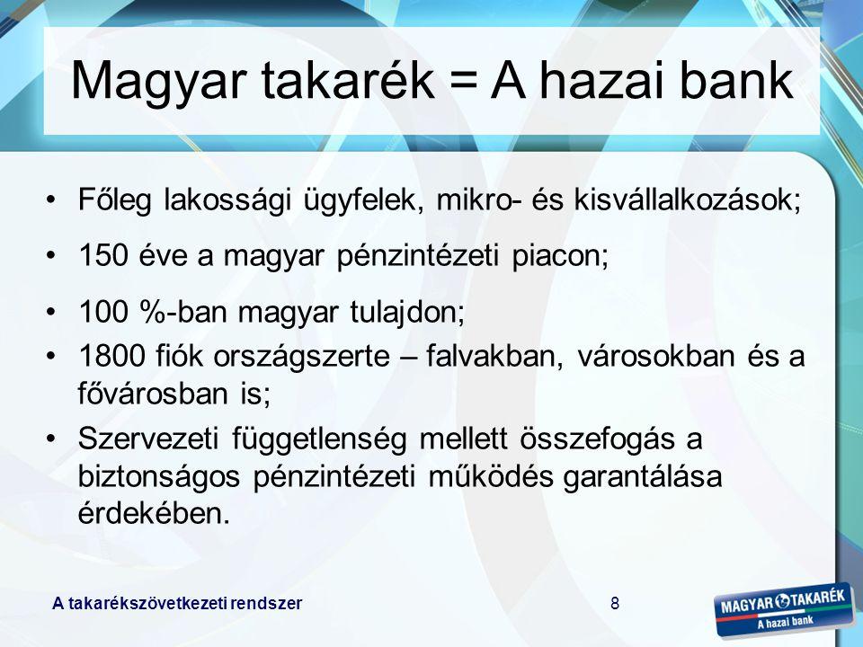 A takarékszövetkezeti rendszer8 Főleg lakossági ügyfelek, mikro- és kisvállalkozások; 150 éve a magyar pénzintézeti piacon; 100 %-ban magyar tulajdon; 1800 fiók országszerte – falvakban, városokban és a fővárosban is; Szervezeti függetlenség mellett összefogás a biztonságos pénzintézeti működés garantálása érdekében.