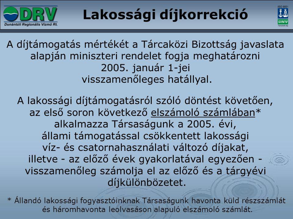Lakossági díjkorrekció A díjtámogatás mértékét a Tárcaközi Bizottság javaslata alapján miniszteri rendelet fogja meghatározni 2005. január 1-jei vissz